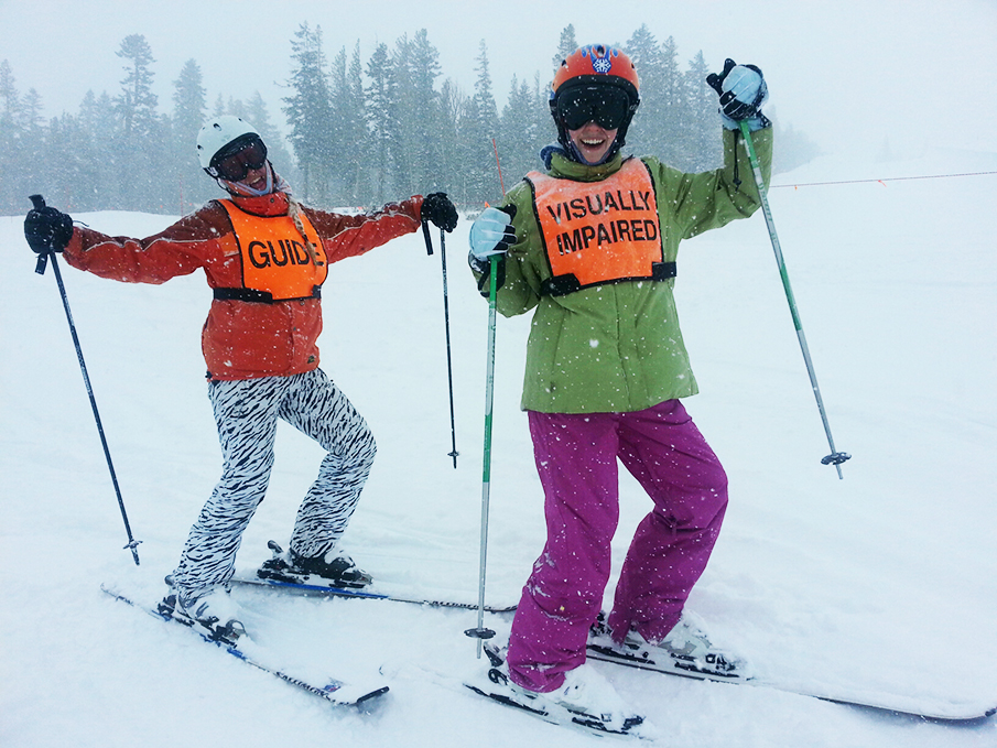 DSES Intern Kelly and VI Student Kristina rock the snow on one of our awesome lessons this season!