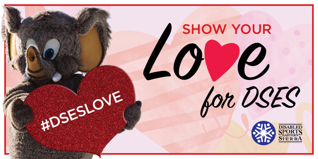 "Mammoth Mountain mascot, Woolly, is at the left of the image, holding a red sparkly heart with the words #DSESLOVE on it. To the right of the image, there is text that reads: Show Your Love for DSES (with a heart in the place of the letter ""v"" in love.) The DSES logo is on the bottom right of the image, and the background is Valentine's colors with hearts in pink, red, and purple."